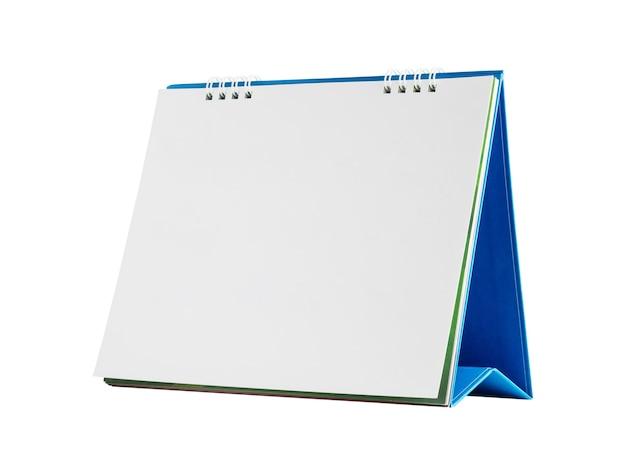 Maqueta de calendario de escritorio de papel en blanco blanco aislado sobre fondo blanco con trazado de recorte