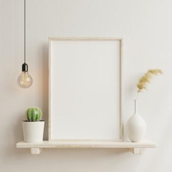 Maqueta de cartel interior con marco de madera vertical en el fondo interior de una casa con jarrón, renderizado 3d