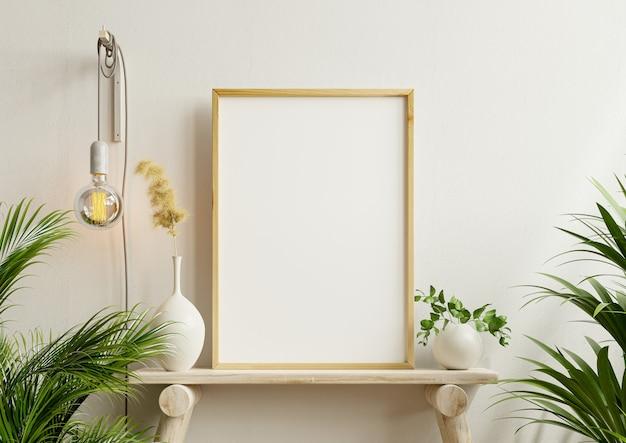 Maqueta de cartel interior con marco de madera vertical en el fondo interior de una casa, renderizado 3d
