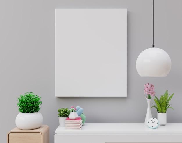 Maqueta del cartel con marco vertical, maqueta del marco en blanco en nuevo interior con flores