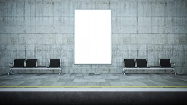 Maqueta de cartelera en blanco en la estación de metro