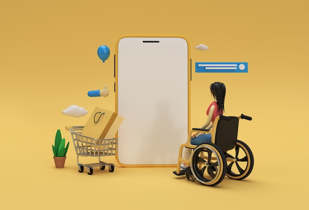 Maqueta de compras en línea móvil de renderizado 3d creativo con banner web de mujer en silla de ruedas, material de marketing, presentación, publicidad en línea.