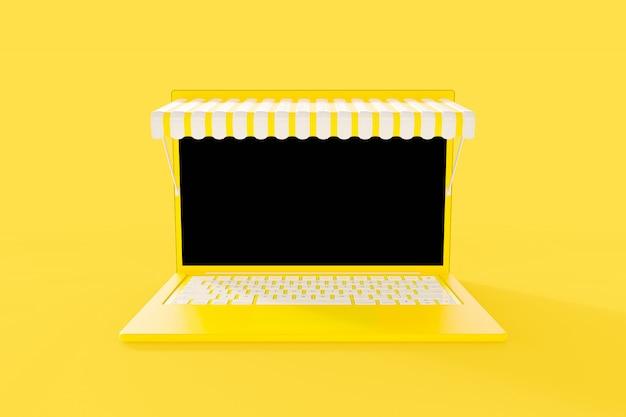 Maqueta de computadora portátil amarilla