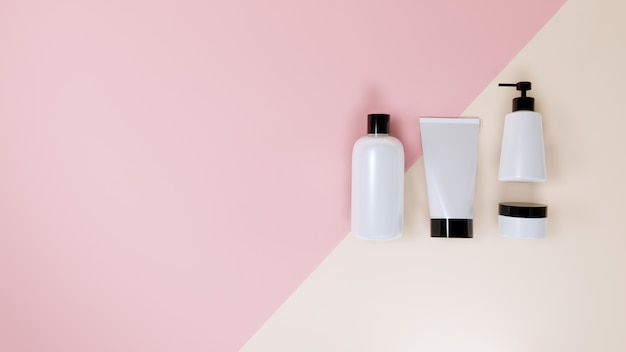 La maqueta cosmética de la botella fijó en rosa, representación 3d.