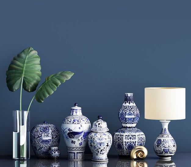 Maqueta de decoración interior con tarros de jengibre chino y planta