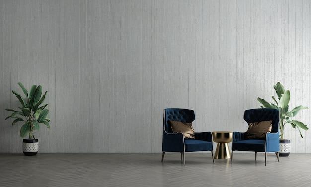 La maqueta de la decoración de interiores y el diseño de la sala de estar y el fondo de la textura de la pared y el sofá con la representación 3d de la mesa auxiliar dorada