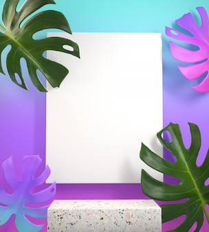 Maqueta degradado de podio en blanco colorido con monstera tropic plant 3d render
