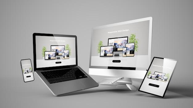 Maqueta de dispositivos flotantes con diseño de sitio web receptivo renderizado 3d