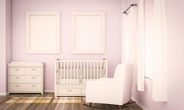 Maqueta de dos carteles en blanco en la habitación de bebé rosa