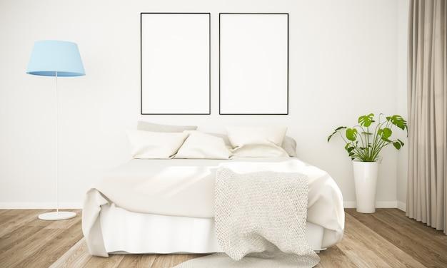 Maqueta de dos carteles en dormitorio escandinavo
