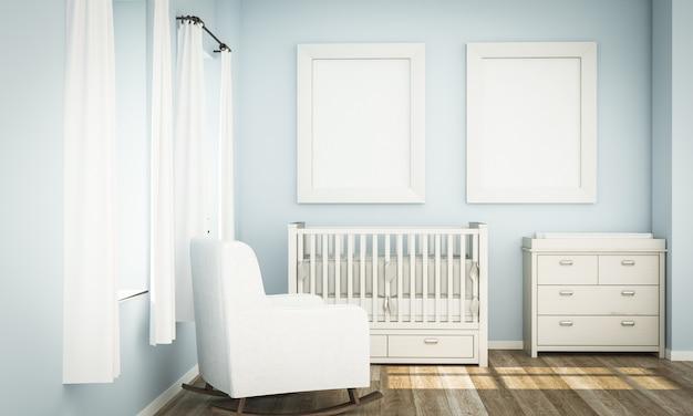 Maqueta de dos cuadros blancos en la habitación azul del bebé
