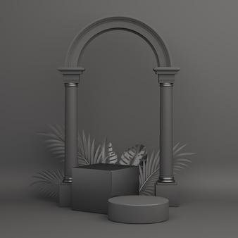 Maqueta de exhibición de podio de venta de viernes negro con hojas de palma de columna de cilindro de caja, representación 3d