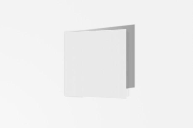 Maqueta folleto cuadrado, folleto, invitación aislado sobre un fondo blanco con tapa dura y sombra realista. representación 3d