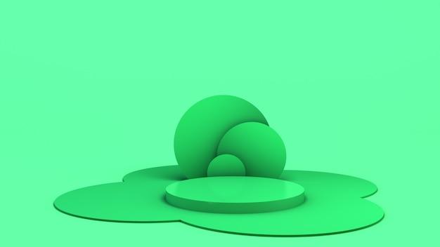 Maqueta con forma geométrica sobre fondo abstracto pedestal vacío para la exhibición del producto 3d render