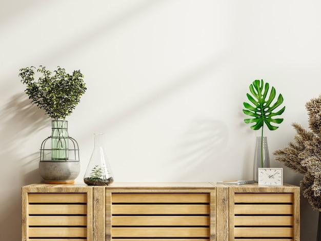 Maqueta de un gabinete en una habitación moderna y vacía con una pared blanca representación 3d
