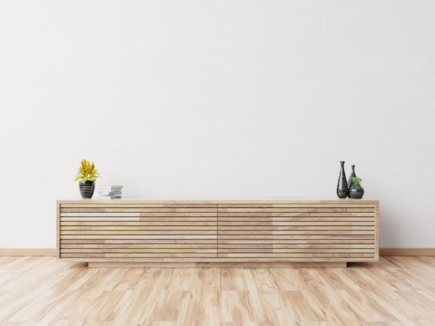 Maqueta del gabinete en la habitación vacía moderna, pared blanca, representación 3d