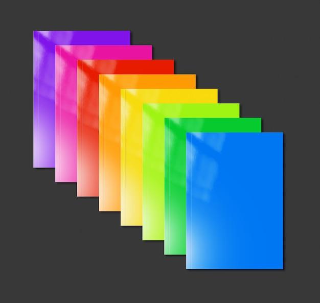 Maqueta de gama de folletos multicolores sobre fondo negro
