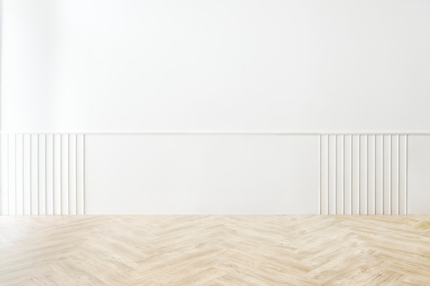 Maqueta de habitación vacía mínima con pared estampada blanca
