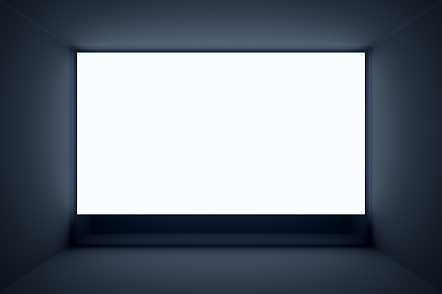 Maqueta de ilustración 3d de una pantalla blanca en una habitación negra
