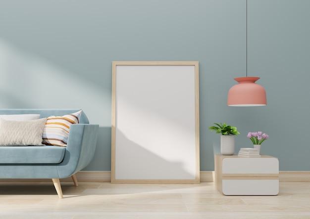Maqueta interior del cartel con el marco de madera vacío vertical que se coloca en piso de madera con el sofá y el gabinete representación 3d
