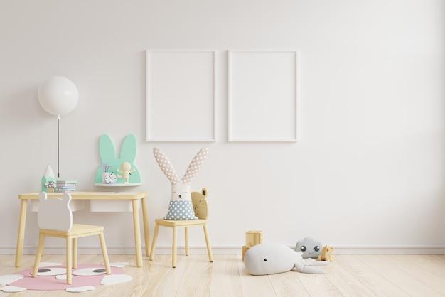 Maqueta interior, sala de niños, maqueta de marco de pared.