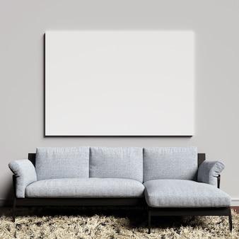 Maqueta de lona en la pared interior blanca con sofá azulado