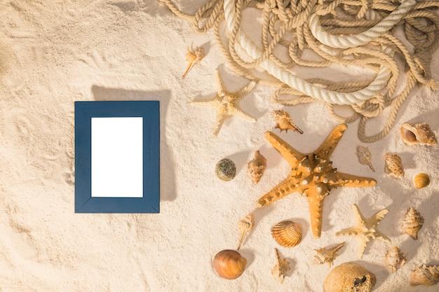 Maqueta con marco en blanco y conchas marinas