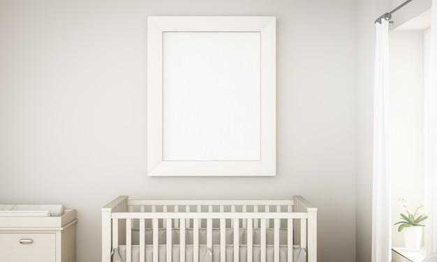 Maqueta de un marco blanco en la habitación del bebé unisex