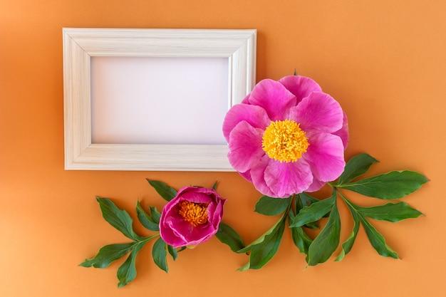 Maqueta de marco cuadrado blanco con peonías rosas sobre un fondo rosa.