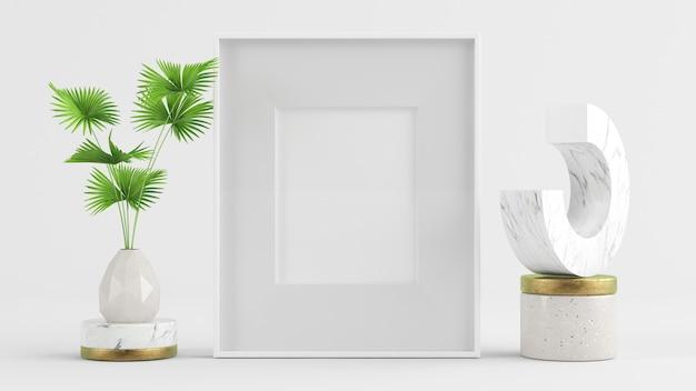 Maqueta de marco con elementos abstractos render 3d