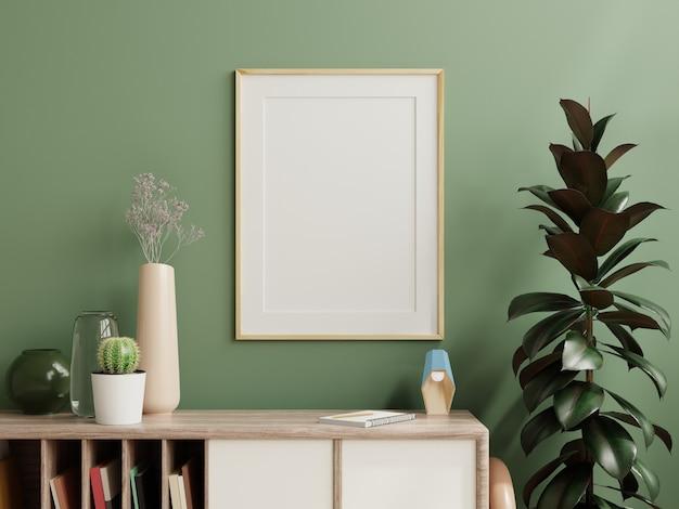Maqueta de marco de fotos verde montado en la pared del gabinete de madera con hermosas plantas, renderizado 3d