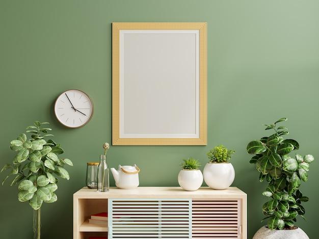 Maqueta de marco de fotos verde montado en la pared en el gabinete de madera con hermosas plantas. representación 3d