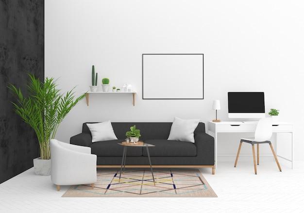 Maqueta de marco horizontal en salón escandinavo