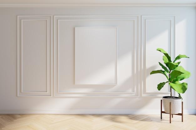 Maqueta de marco con planta, piso de madera y pared blanca, renderizado 3d