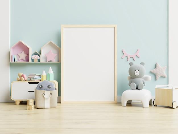 Maqueta marco de póster en la habitación de los niños, sala de niños, maqueta de guardería