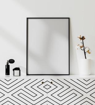 Maqueta de marco de póster en interior moderno y luminoso con pared blanca, perfume, vela y flor de algodón en florero, fondo interior de lujo, renderizado 3d