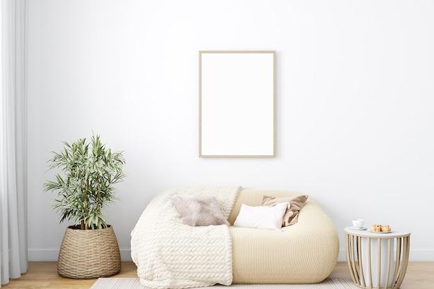 Maqueta de marco de sala de estar en estilo boho.