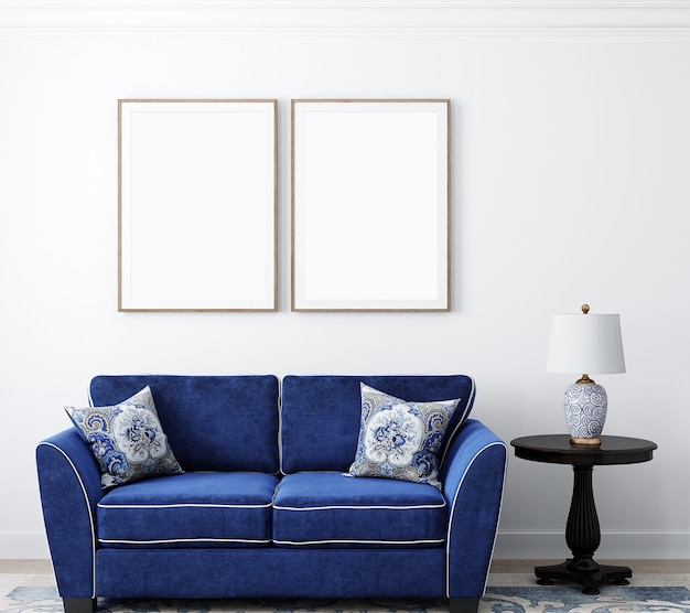 Maqueta de marco para sala de estar y sofá azul.