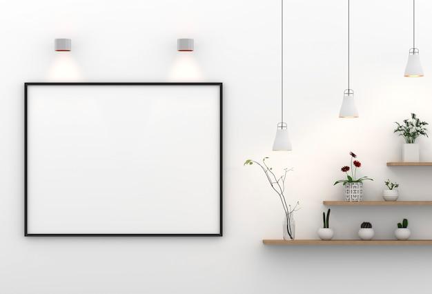 Maqueta de marco en la superficie de la pared con lámpara y plantas. representación 3d