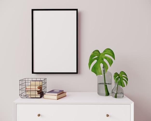 Maqueta de marco vertical en interior moderno