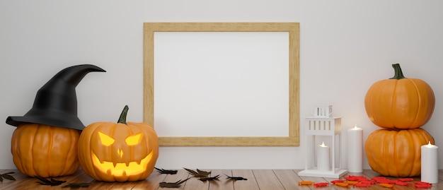 Maqueta de marcos en la pared con la mesa decorada con lámparas de calabaza y cosas en la representación 3d del concepto de halloween