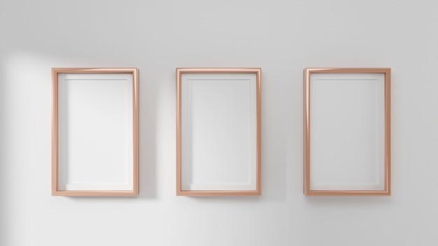 Maqueta de marcos en la pared