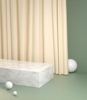 Maqueta mínima podio con cortina de crema sobre fondo verde pastel 3d render