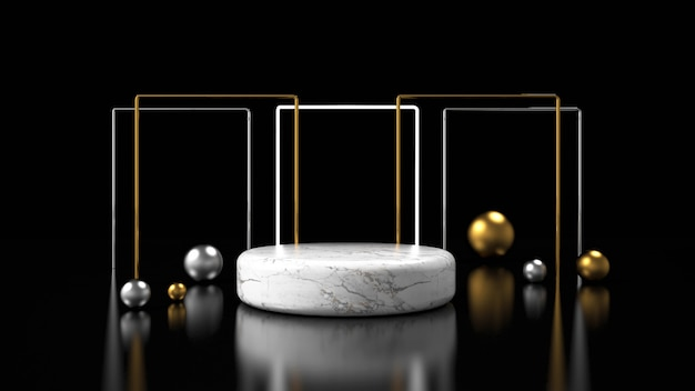 Maqueta minimalista moderna con pantalla de podio
