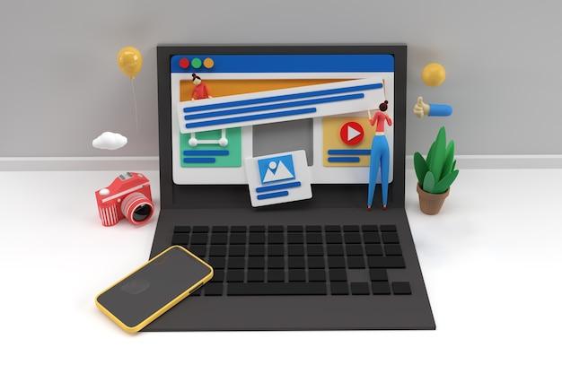 Maqueta móvil creativa de renderizado 3d con banner de desarrollo web portátil, material de marketing, presentación, publicidad en línea.