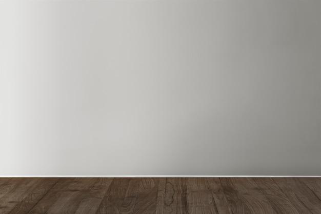 Maqueta de muro de hormigón en blanco gris con piso de madera