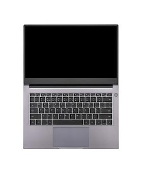 Maqueta negra en una pantalla de portátil abierta aislada en una vista superior de fondo blanco