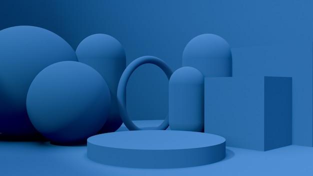 Maqueta de objetos de renderizado 3d, forma abstracta y geometría en color azul rojo y blanco.
