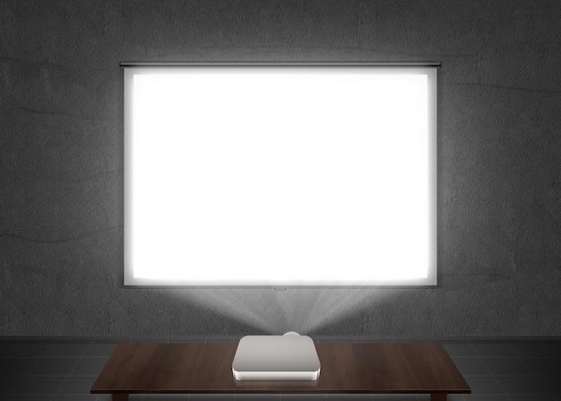 Maqueta de pantalla de proyector en blanco en la pared