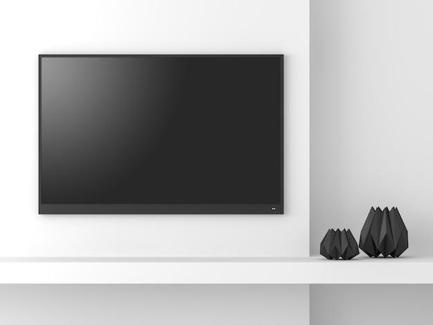Maqueta de pantalla de tv vacía de estilo minimalista 3d renderdecorar con jarrones en forma de dimond negro